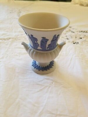 Rare Vintage Wedgwood White Jasper Ware Small Footed Vase Greek Figures