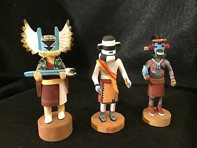 Lot# 1307.  Three Native American Miniture Kachina Dolls