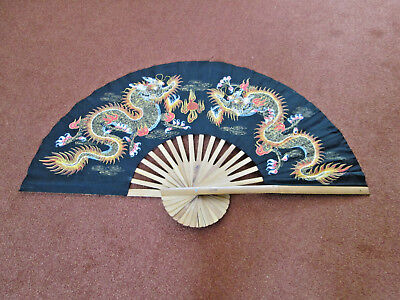 Vintage Traditional Chinese Fan Large Hand Painted with Chinese Dragons