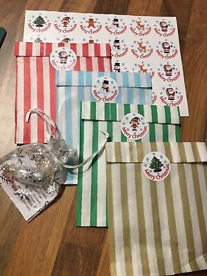 24 Christmas Stickers and Striped Sweet Bags for Boys or Girls Christmas party