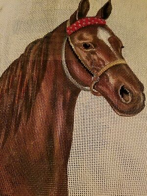 Horse Needlepoint hand painted  canvas mesh horses head brown beautiful 14 × 14""