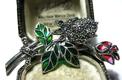 Vintage Style Art Deco Hallmarked Sterling Silver Marcasite ROSE Flower BROOCH