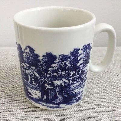 Churchill Currier And Ives The Harvest Mug Blue And White Transferware