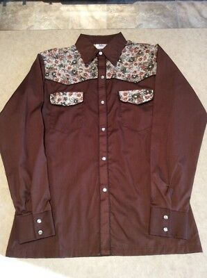 HHS Mens Size Medium Western Brown & Floral Shirt Pearl Snaps VINTAGE Rockabilly