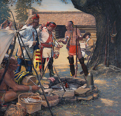 """John BUXTON """" The Ceremonial Pipe """" Limited Edition Canvas ART Indian Native"""