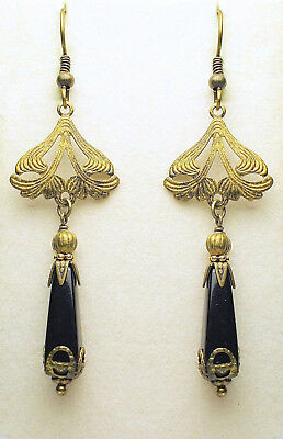 Art Nouveau Art Deco Style Antique Brass Czech Black Onyx Drop Earrings