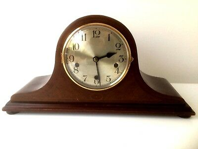 Vintage German Westminster Chimes Shelf Mahogany Inlaid  Mantel Clock