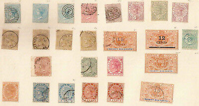 25x Mauritius QV stamps mint/used/overprints 1880s-90s 2d to 36c values