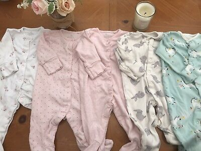 Baby Girls Sleepsuit/ Babygrow Bundle 0-3 Next & John Lewis Pink/ Unicorn/ Bunny