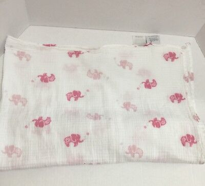 Aden by Aden + Anais Girl Pink Elephant Muslin Swaddle Baby Blanket White