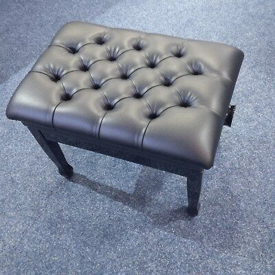 Adjustable Leather Piano Stool. High Gloss Black With Button Top