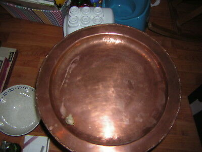 Huw Wallis Arts & Crafts Copper Tray 37 cm in diameter  - Stamped HW