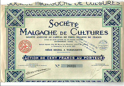 Old French Share 1927 for Madagascar Cultures society. Scarce.