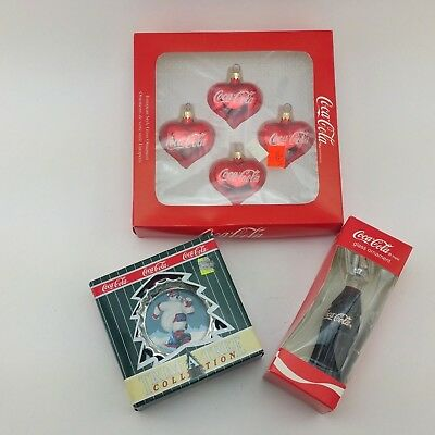Lot of 3 Coca Cola Collection Trim a Tree Ornaments Glass Ornaments Bottle Heart