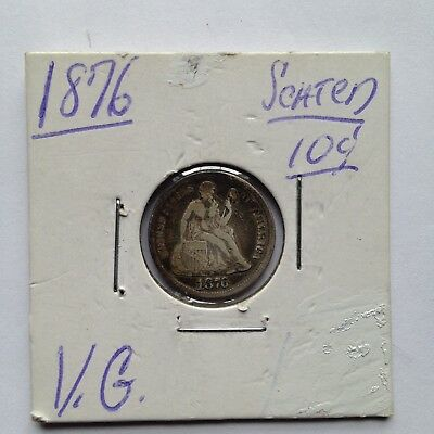1876 10C Seated Liberty Silver Dime