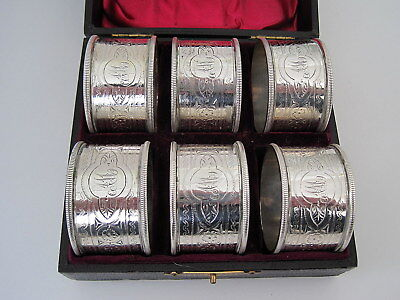 1898 VICTORIAN STERLING SILVER NAPKIN RINGS BOXED SET of SIX