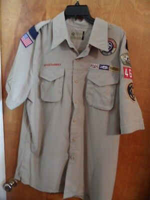 BOY SCOUTS Of America UNIFORM Shirt  LEADER Short Sleeve Scout Adult Mens Large