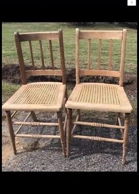 2 Vintage Wood Cane Seat Side Chairs Ladder Back