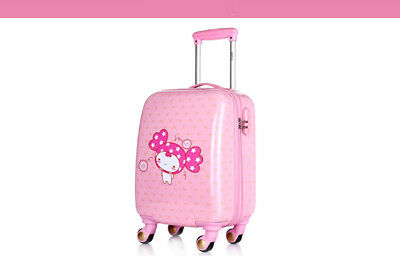 D844 Pink Cartoon Doll Universal Wheel Children Suitcase Luggage 18 Inches W