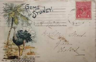 VINTAGE  SYDNEY POSTCARD PICTORIAL WITH KGV 1d RED