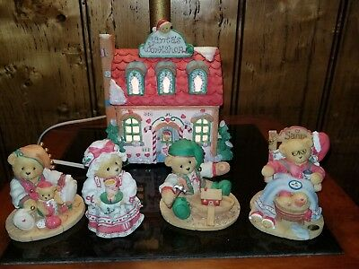 Cherished Teddies Santa's Workshop Lighted House with Yule, Santa, Holly & Mere