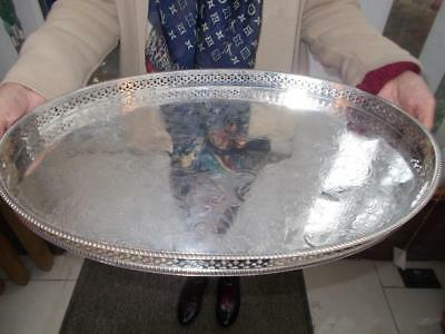 "Large Vintage Silver Plate On Copper Gallery Tray Over 18"" Long"