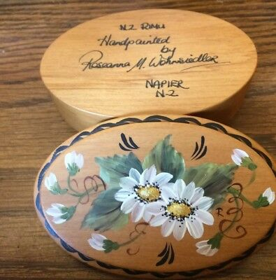 SIGNED Oval Wood Trinket Box - Hand Painted By ROSEANNA M. WOHNSIEDLE Nice!!