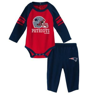 New England Patriots Baby Infant Long Sleeve Creeper and Pants Set