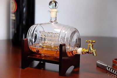 Whiskey Decanter Ship in a Barrel with Spigot and stand UK SELLER Hand blown