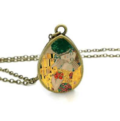 The Kiss Gustav Klimt Art Pendant Bronze Necklace Teardrop Cabochon Jewellery UK