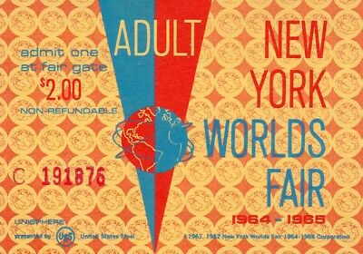Vintage Adult New York World's Fair 1964 1965 Ticket Admission $2 Pass