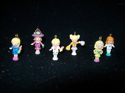 USED Six Vintage Polly Pocket Dolls Charms (Lot 15)