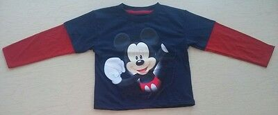 New Without Tags Disney Boys Sz 2T Red & Blue Mickey Mouse Long Sleeve T Shirt