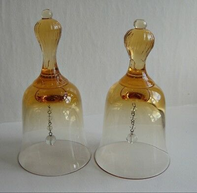 A Pair of Vintage, Amber Glass Bells.