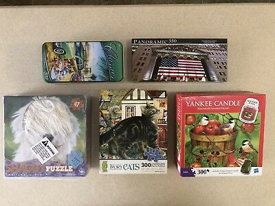 Lot of 5 Jigsaw Puzzles Various Themes 300-500 pc 2 SEALED Yankee Candle Hasbro