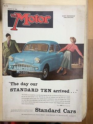 The Motor Magazine, March 12th 1958, One Shilling. Our Standard Ten Arrived !!