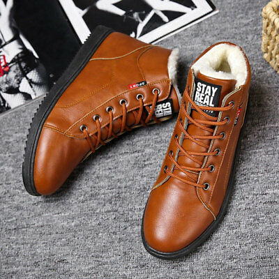 Men's Snow Ankle Boots Casual Martin Shoes Cotton Flats With Velvet Sneaker Warm