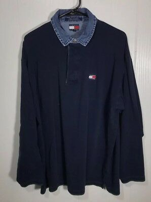 c95b329bc3f Vintage Tommy Hilfiger Jeans Rugby Polo Shirt Flag 90s Rare Sz Large L/S