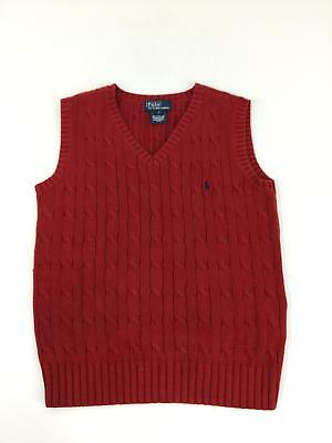 Polo Ralph Lauren Vest Boys 7 Red Cable Knit 100% Cotton Blue Pony V-Neck