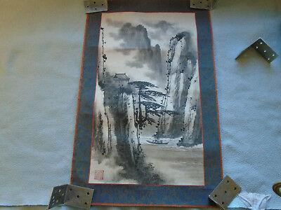 Chinese Ink Wash Painting  (Signed with artist Seal)  Mountain Village Scene