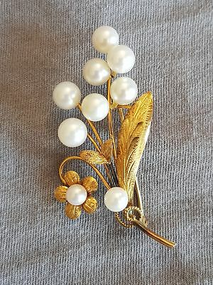 Fine Vintage Solid 14k Gold & 9 7mm Cultured Pearl Flower Brooch- Pin