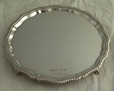 Elegant Solid Silver Card Tray - 360g - Sheffield 2000