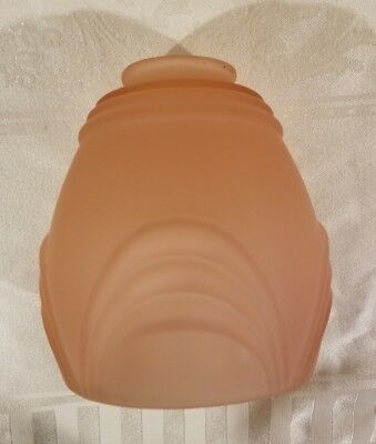 Vintage Pink Frosted Satin Glass Light Lamp Shade Art Deco Drape Pattern 6""