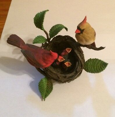 "Danbury Mint Family Of Cardinals In A Nest Sculpture ""Proud Parents"" By Bob Guge"