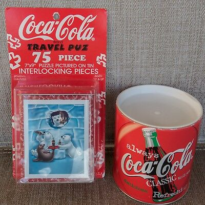 2 Coca-Cola Mini Jigsaw Puzzles ~ Collectible Tin & Cardboard Can ~ New ~ Mint