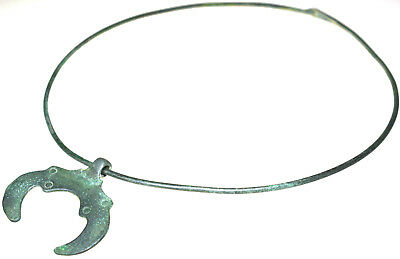 Viking Bronze Neck Torc with Lunar Amulet Pendant