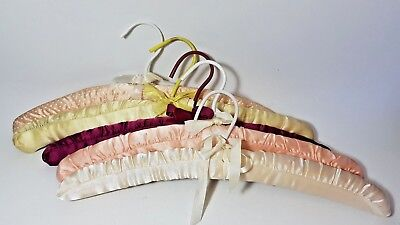 5 Vintage Hand Stitched Satin Fabric Padded Clothes Coat Hangers