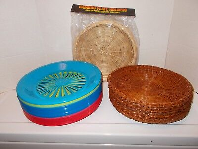 Lot 40 Paper Plate Holders 11 Wicker Bamboo 29 Plastic Picnic Kitchen Camping