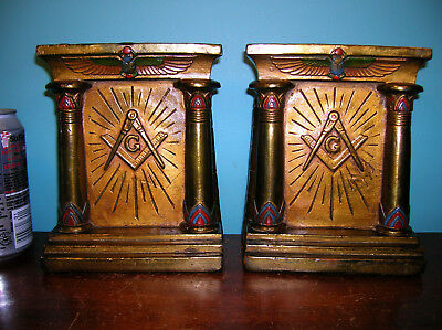 BEST Masonic temple Egyptian scarab bookends Armor Bronze clad, orig paint, 1921
