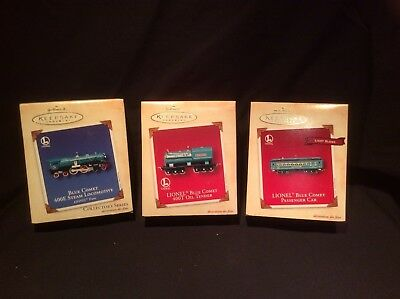 Hallmark 2002 Keepsake Ornament Lionel Blue Comet 400E Steam Train set of 3 NEW